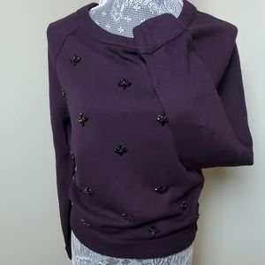 NWT■LOFT Embellished Sweater Plum Color
